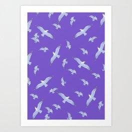 purple seagull day flight Art Print