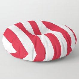 Philippine red - solid color - white vertical lines pattern Floor Pillow