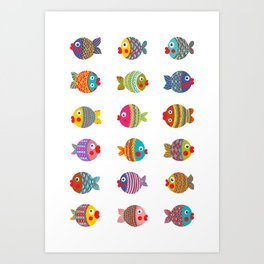 Fishes colorful fun graphic pattern design Art Print
