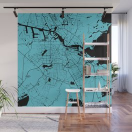 Amsterdam Turquoise on Black Street Map Wall Mural