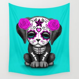 Cute Purple and Blue Day of the Dead Puppy Dog Wall Tapestry