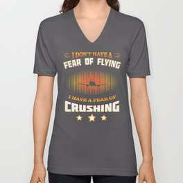 Fear of flying quote poster style Unisex V-Neck