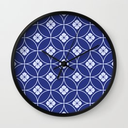 Japanese Neck Gator Blue and White Floral Japanese Pattern Wall Clock