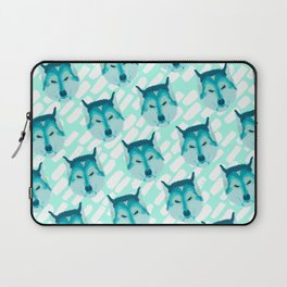 husky - teal pattern Laptop Sleeve