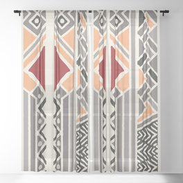 Tribal ethnic geometric pattern 034 Sheer Curtain