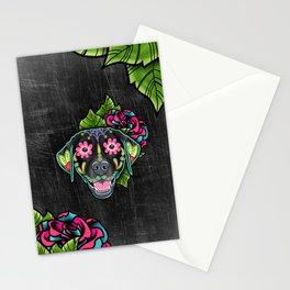 Labrador Retriever - Black Lab - Day of the Dead Sugar Skull Dog Stationery Cards