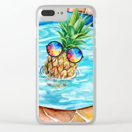 Chilling Pineapple Clear iPhone Case