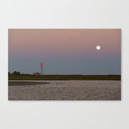 Romantic Galveston Beach Strawberry Full Moon Canvas Print