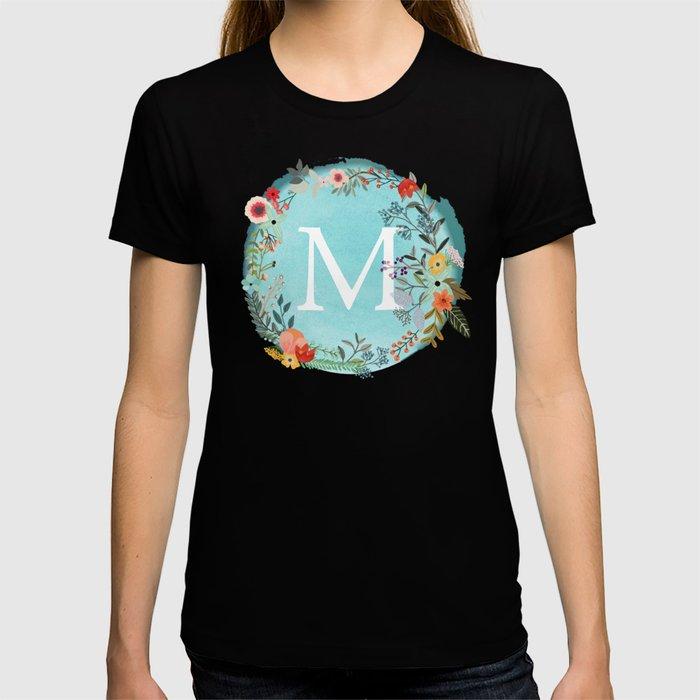 Personalized Monogram Initial Letter M Blue Watercolor Flower Wreath Artwork T-shirt