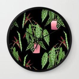 Polka Dot Begonia Potted Plants in Black Wall Clock