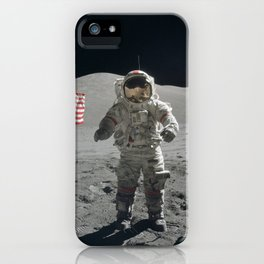 Astronaut on the Moon  - Vintage Space Photo iPhone Case