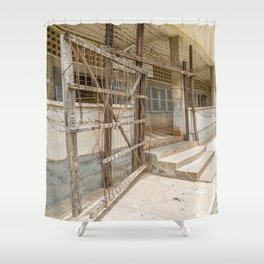 S21 Building C Razor Wire Entrance - Khmer Rouge, Cambodia Shower Curtain