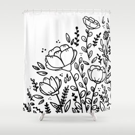 Black and white floral drawing Shower Curtain