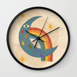 Rainbow Moon & Stars Wall Clock