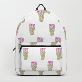 Graphic Design, Pink Flower, Ice Cream Cone, Funny, Creative Backpack