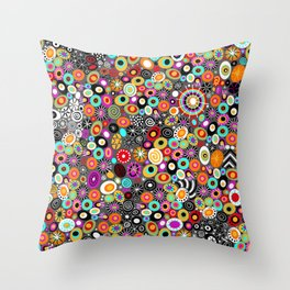 Sea Glass//Circles and Dots//Red Pink Yellow Black Teal Throw Pillow