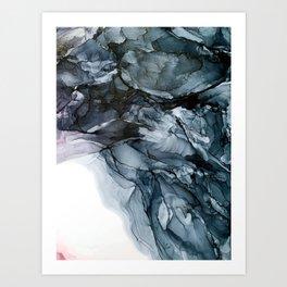 Dark Payne's Grey Flowing Abstract Painting Art Print