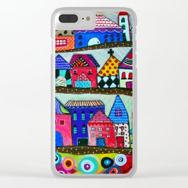 Mexican Town House of Colors Painting Clear iPhone Case
