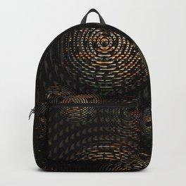 Dark and Orange Circle Weave Pattern Backpack