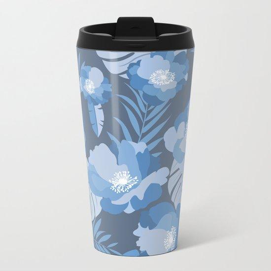 Tropical Leaves and Flowers Metal Travel Mug