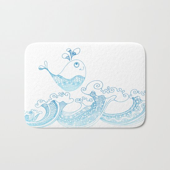Doodle fish jumping out of the water- Maritime Sea Animal Bath Mat