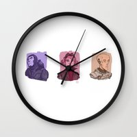 power rangers Wall Clocks featuring 3 Space Rangers by Dominic Kerley