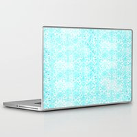 aqua Laptop & iPad Skins featuring Aqua Blue Damask by 2sweet4words Designs