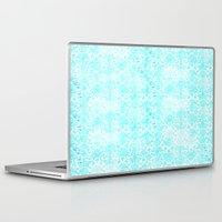 aqua Laptop & iPad Skins featuring Aqua Blue Damask by 2sweet4words Designs