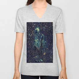 Pillars of Creation GalaxY  Teal Blue & Gold Unisex V-Neck
