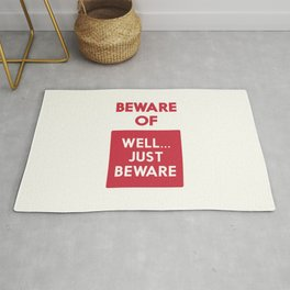 Beware of well just beware, safety hazard, gift ideas, dog, man cave, warning signal, vintage sign Rug
