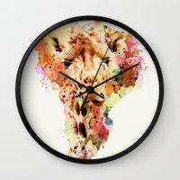 giraffe Wall Clocks featuring giraffe by RIZA PEKER