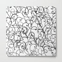 black thin pattern on white underground Metal Print