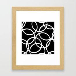Interlocking White Circles Artistic Design Framed Art Print