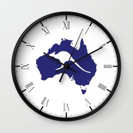 Australia Map With Kangaroo Silhouette Wall Clock