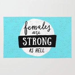 Females Are Strong As Hell Blue Rug