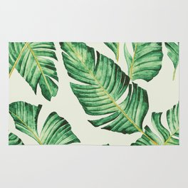 Banana leaves in pastel colours Rug