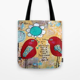 I love you a bushel and a peck, whimsical birds with flower Tote Bag