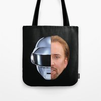 nicolas cage Tote Bags featuring Daft Cage by Jared Cady