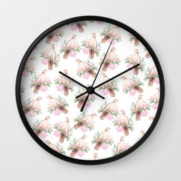 Hand painted modern pink brown watercolor peonies dove pattern Wall Clock