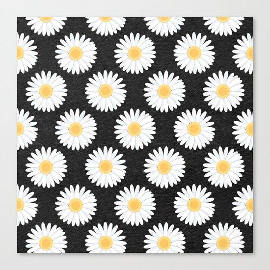 Spring Daisies_Black Canvas Print