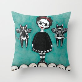 Day of the Dead Cats 8 Throw Pillow