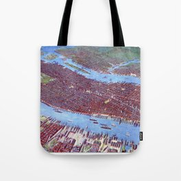 NEW YORK CITY Manhattan city old map Father Day art print poster Tote Bag