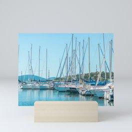 Travel Photography   Many Sailboats and yachts in Sunny Harbor   Fine Art Photography Mini Art Print