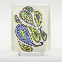 paisley Shower Curtains featuring Paisley by Laura Maxwell