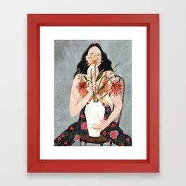 Hilda with vase Framed Art Print