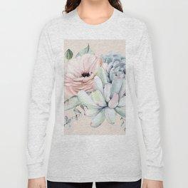 Elegant Blush Pink Succulent Garden by Nature Magick Long Sleeve T-shirt