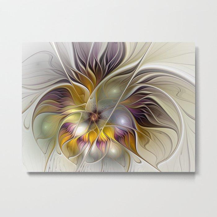 Abstract Fantasy Flower Fractal Art Metal Print