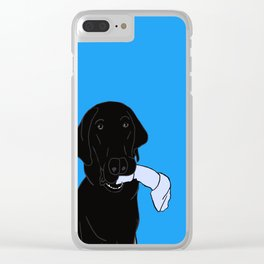 Black Lab With A Bone Clear iPhone Case