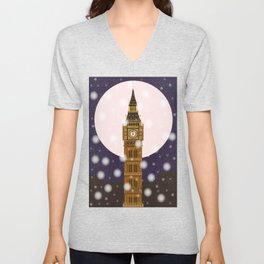London Christmas Eve Unisex V-Neck