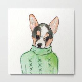 Sweater Corgi Metal Print